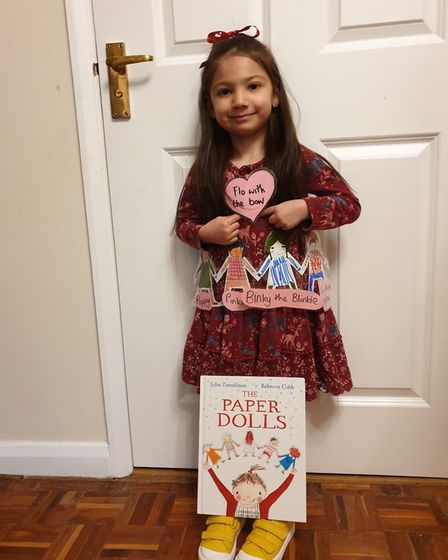 Maia Wiggett aged 5, dressed up as Flo with the bow from the Paper Dolls and won best dressed in he