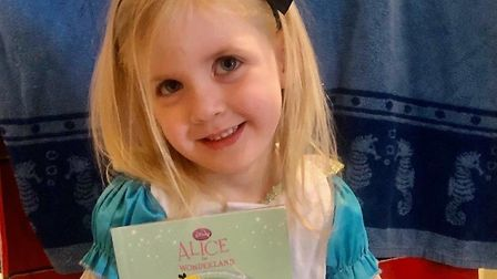 Arabella Stokes age 4 from Roman Way Academy as Alice in Wonderland. Picture: Courtesy of Kelly Darb