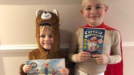 Louie, 6, as Captain Underpants and Stanley, aged four, as the bear from we're going on a Bear hunt