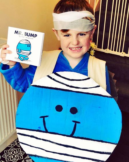 Buddy Horgan, aged seven, in his homemade Mr Bump costume Picture: Courtesy of Becky Cox