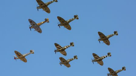 A formation of Spitfires at the Battle of Britain Air Show at IWM Duxford in 2019. Picture: IWM