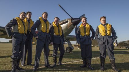 Living history group Spirit of Britain pose on the IWM Duxford airfield at the 2019 Battle of Britai