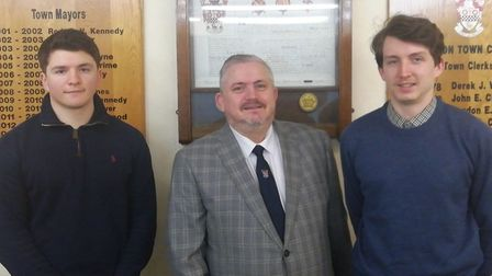 Royston mayor Robert Inwood with Jack Logan and Conor Inwood. Picture: Robert Inwood/Royston Town Co