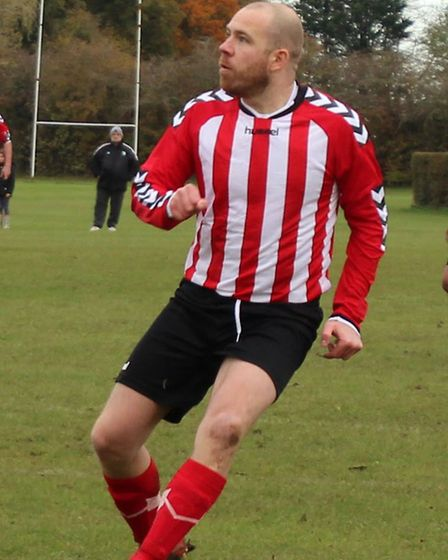 Jim Lynch in action for Hanburys in the Herts Ad Sunday League. Picture: BRIAN HUBBALL