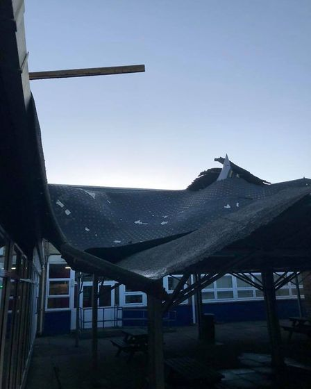 The damage caused by storm Ciara to Sawtry Village Academy