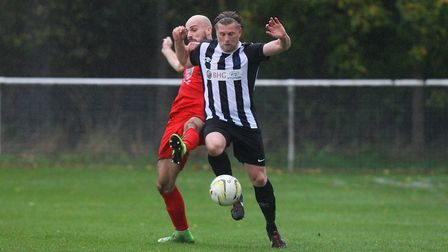 Danny Fitzgerald was sent off on a bad day for Colney Heath at Biggleswade United. Picture: KARYN HA