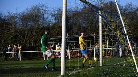 Sean McMonagle opens the scoring for Harpenden Town. Picture: JAMES LATTER