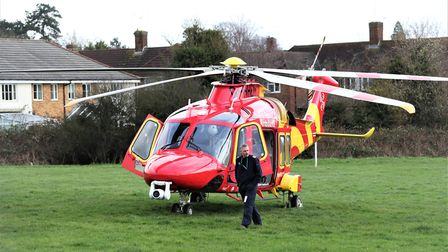 An air ambulance has landed at Drakes Drive, St Albans, this afternoon. Picture: Jim Whittamore