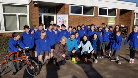 Ben Smith and Annie Brewster at Crabtree Junior School in Harpenden to promote The Extra Mile.