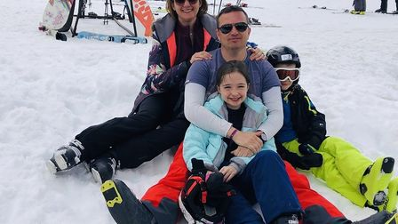 Claire Gillies with her family: husband Rob, Evie and Sam.