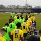 St Albans City and Oxford City make their way onto the pitch ahead of the National League South game