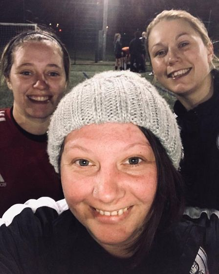 Charlene Martin (front) with former team-mates Georgie Astley (left) and Jade Carpenter (right). Pic
