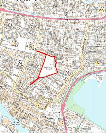 Map detailing the second area to be covered by the Public Space Protection Order, this being Warner'