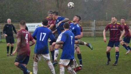 Action from the derby clash between Eaton Socon and Eynesbury United in the Cambridgeshire County Le
