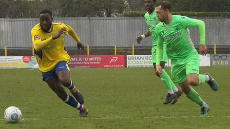 Rohdell Gordon in action for St Albans City in their 0-0 National League South draw with Oxford City
