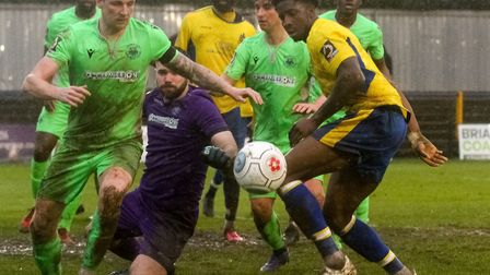 David Longe-King in action for St Albans City in their 0-0 National League South draw with Oxford Ci