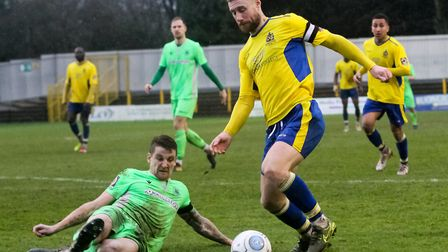 David Noble in action for St Albans City in their 0-0 National League South draw with Oxford City at