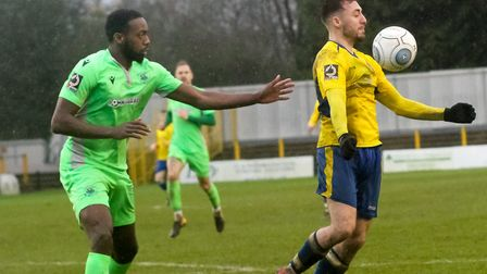 Joe Iaciofano in action for St Albans City in their 0-0 National League South draw with Oxford City