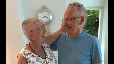Marian and James Ferguson had their heads shaved for Headway. Picture: Headway