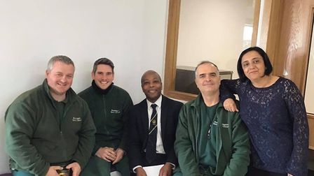 Councillor Patrick Kadewere with staff from Huntingdon Town Council.