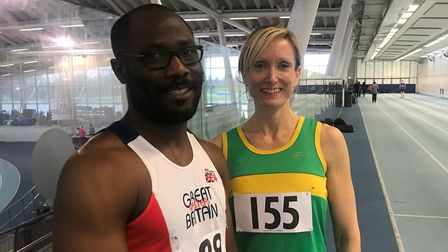 Yinka Opaleye and Jo Abel enjoyed success at the South Counties Veterans' Championships. Picture: SU