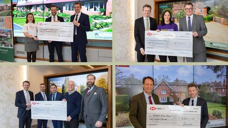 Representatives from the four winning charities pictured picking up their cheques from Ashtons. Pict