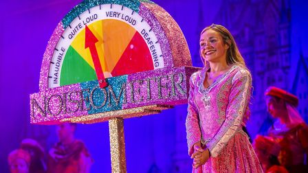 Princess Aurora (Jemma Carlisle) with the Noiseometer in St Albans pantomime Sleeping Beauty at The