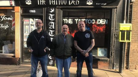Mick Weale with Dennis and Ryan at the Tattoo Den in Huntingdon