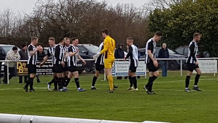 Colney Heath celebrate after Spencer Clarke-Mardel had put them 2-1 ahead against Tring Athletic in