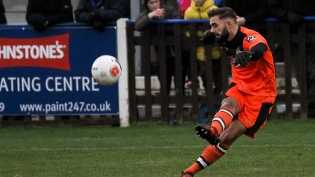 Dean Snedker had to make two crucial saves in the closing stages to preserve the St Albans lead. Pic