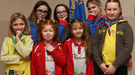 Guides and brownies at the World Thinking Day event in St Neots