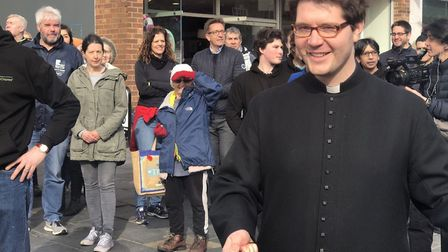 The Pancake Race is underway in St Albans, with lots of the community involved in raising money for