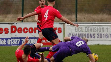 Action from St Neots Town's defeat at Daventry Town in Southern League Division One Central: Picture