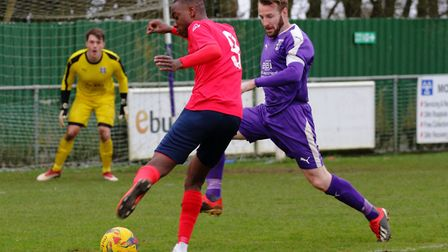Prince Mutswunguma put St Neots Town ahead in their loss to Daventry Town. Picture: DAVID R. W. RICH