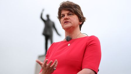 DUP Leader Arlene Foster during an interview with the BBC in while waiting for the arrival of Boris