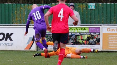 St Neots goalkeeper Finley Iron concedes a penalty during their defeat at Daventry Town. Picture: DA