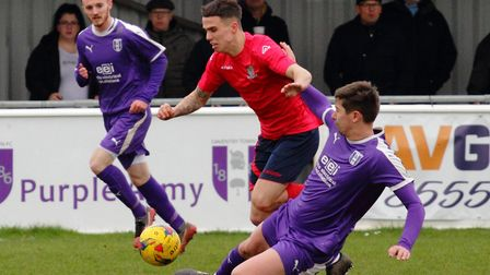 Joe Sutton went close to a late leveller as St Neots Town were beaten at Daventry Town. Picture: DAV