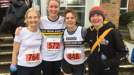 Huntingdon BRJ runners at the Tarpley 20 including age-group winner Annette Newton (left). Picture: