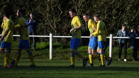 Sean McMonagle scored for Harpenden Town against Harefield United. Picture: JAMES LATTER