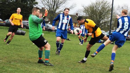 Goalmouth action from Marshalswick Rovers' 5-1 win against Brookmans Park Res. Picture: BRIAN HUBBAL