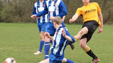 Jed Glendinning of Marshalswick Rovers scores against Brookmans Park Res. Picture: BRIAN HUBBALL