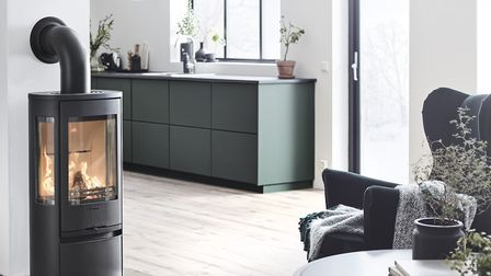The Contura 856 Style stove produces fewer emissions and is cleaner for the air than an open fire. P