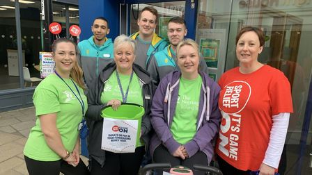 Staff from both the stores cycled 152 miles today to raise money for Sport's Relief. PIC