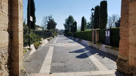 The empty streets of Lazise, a tourist village on Lake Garda in northern Italy, due to the coronavir