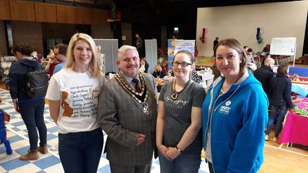 Mayor Councillor Robert Inwood with Jane Wallington, Clare Coningsby and Clare Watson of Royston Bab