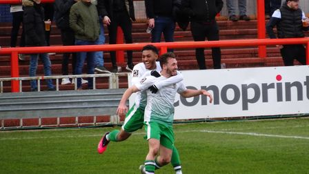 Joe Iaciofano and Lewis Gordon celebrate the only goal in Saturday's 1-0 win at Braintree Town. Pict