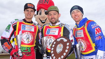 Huntingdon racer Danny King (centre) following his Ben Fund Bonanza triumph with runner up Steve Wor