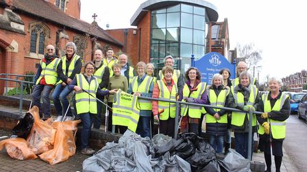 Members of St Paul's Church in St Albans took part in a community litter-pick. Picture: Ellie Cook