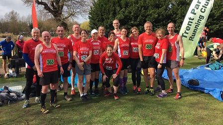 Harpenden Arrows men's and women's teams get ready for the start of the Hertfordshire Masters Cross-