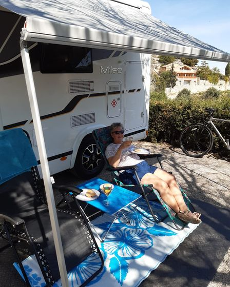 Pauline relaxing in El Berro campsite before lockdown occured. PICTURE: Contributed
